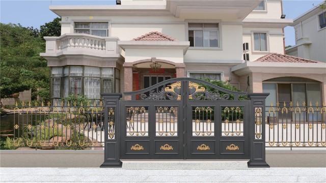 别墅庭院铝艺大门的搭配方法