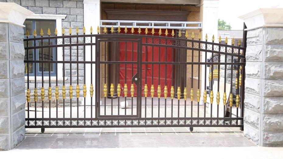 固格澜栅锌钢大门厂家 锌钢围墙大门 户外锌钢大门 室外单开大门