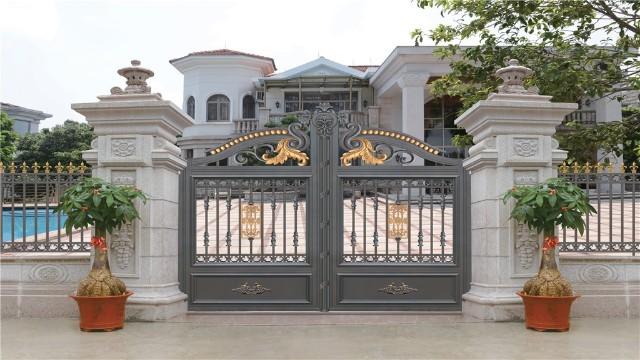 别墅庭院围墙大门天地轴的安装与维护