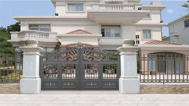 别墅围墙铝艺大门这样设计真的是太好看了